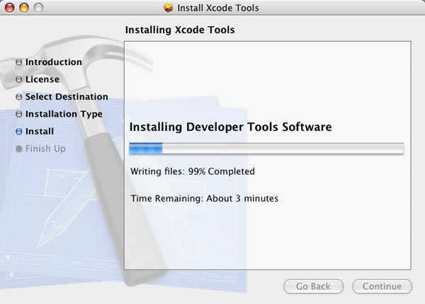 Xcode Tools Installation Process Continues
